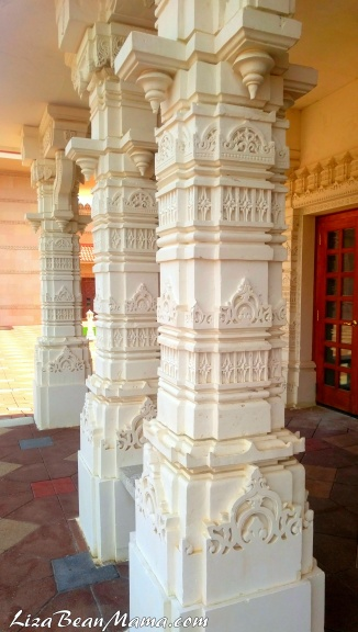 Carved columns at BAPS Mandir in Atlanta
