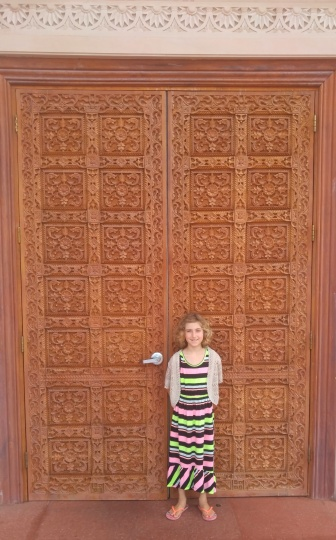 Carved wooden door at BAPS Mandir in Atlanta