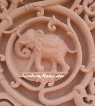 Elephant carving detail at BAPS in Atlanta.